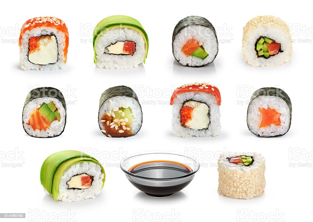 Sushi rolls and soy sauce isolated on white background. stock photo