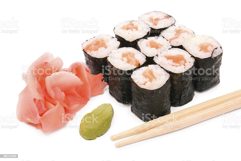 Sushi rolls in group with chopsticks royalty-free stock photo