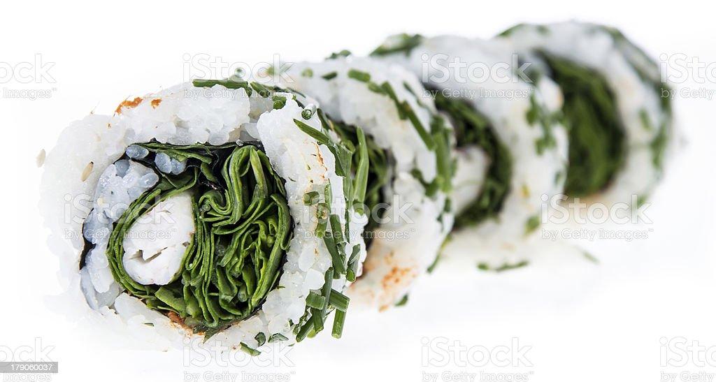 Sushi rolls isolated on white background royalty-free stock photo