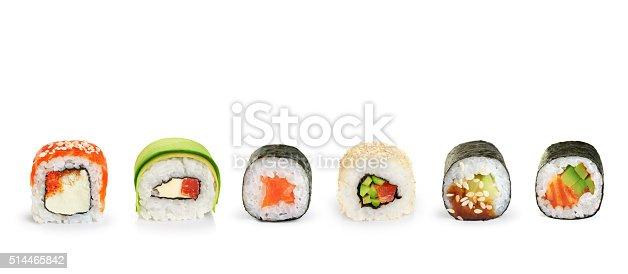 istock Sushi rolls isolated on white background. 514465842