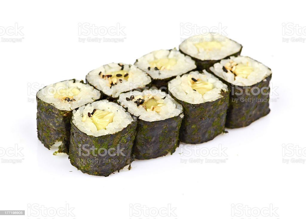 sushi, rolls isolated on white royalty-free stock photo
