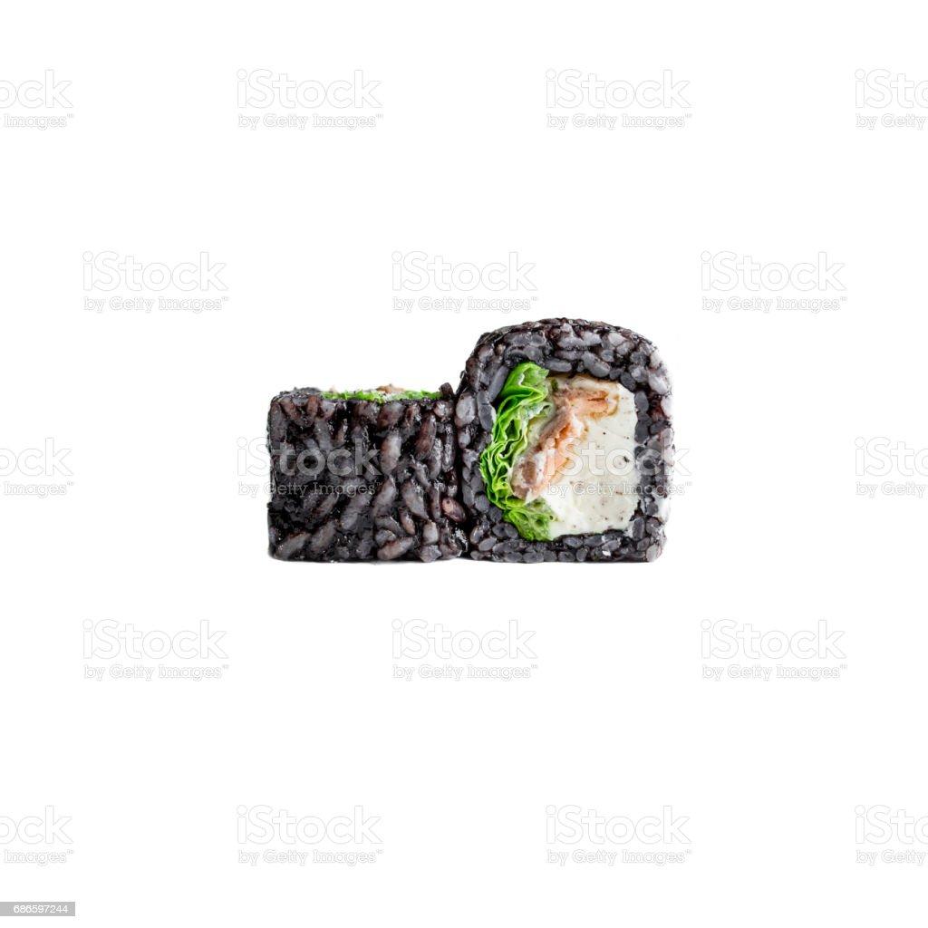 Sushi rolls on a white background. Japanese food. Nigiri rolls royalty-free stock photo
