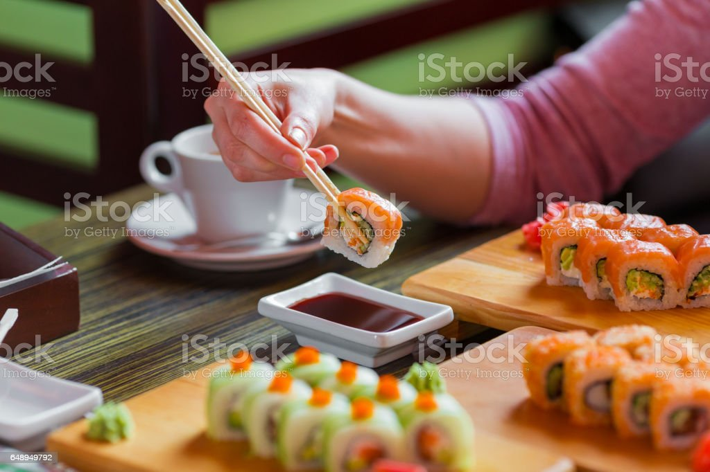 Sushi rolls on the table stock photo