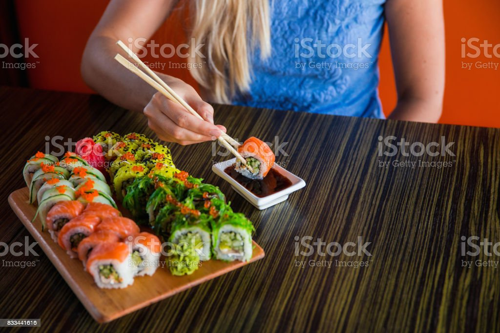 Sushi rolls on the table