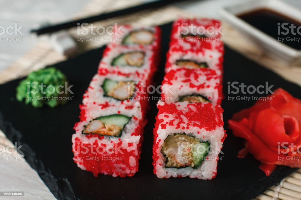 Sushi rolls set, closeup. Japanese healthy seafood royalty-free 스톡 사진