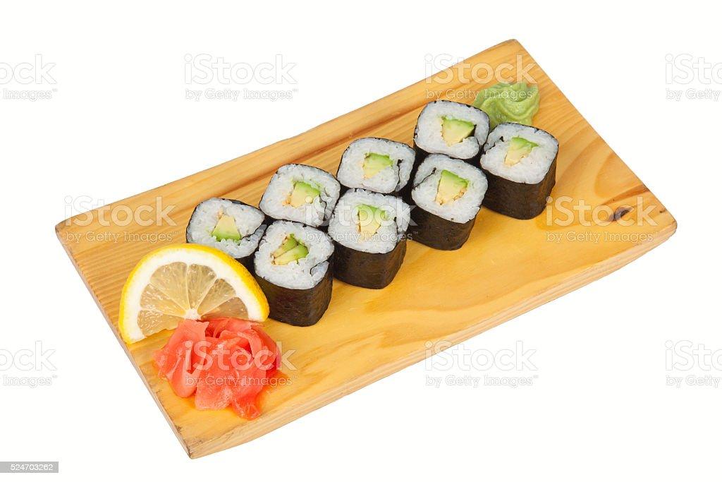 Sushi rolls with avocado isolated on white stock photo