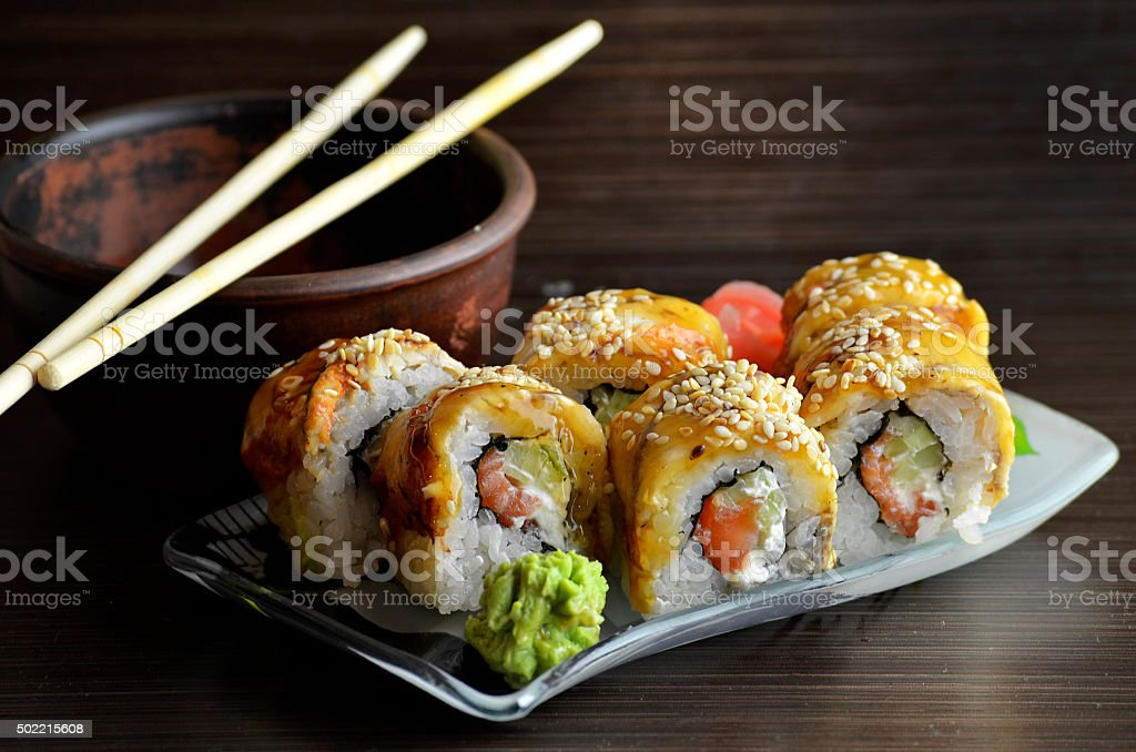 Sushi rolls with eel stock photo