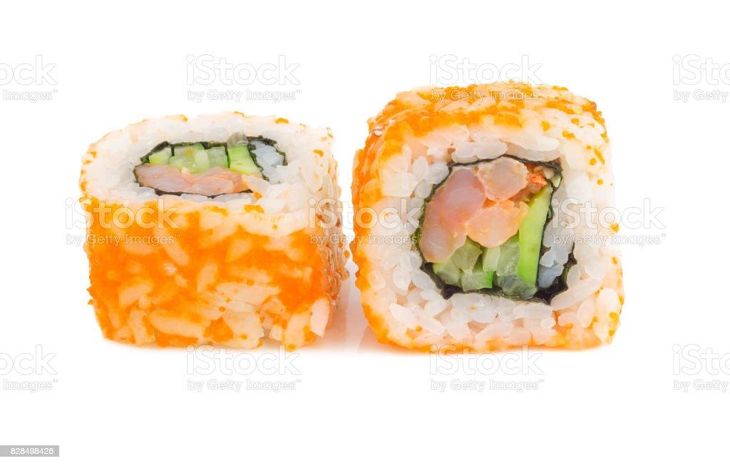 Sushi rolls with shrimp isolated on white stock photo