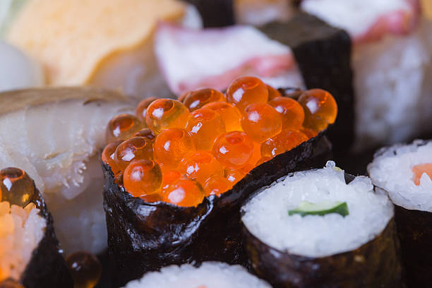 Sushi Salmon Roe Macro Shooting Stock Photos, Pictures