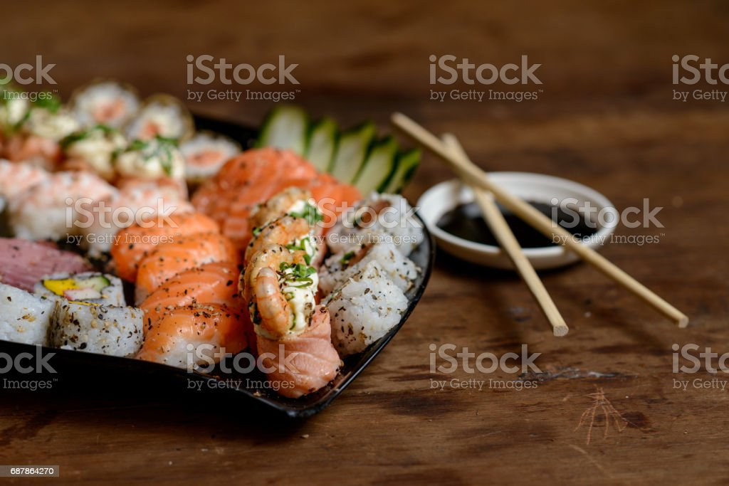 Sushi sashimi boat seafood ship stock photo