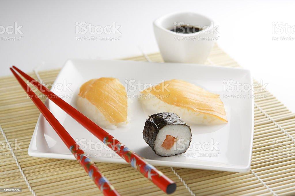 Sushi / Sashimi with Chopsticks and Soy Sauce royalty-free stock photo