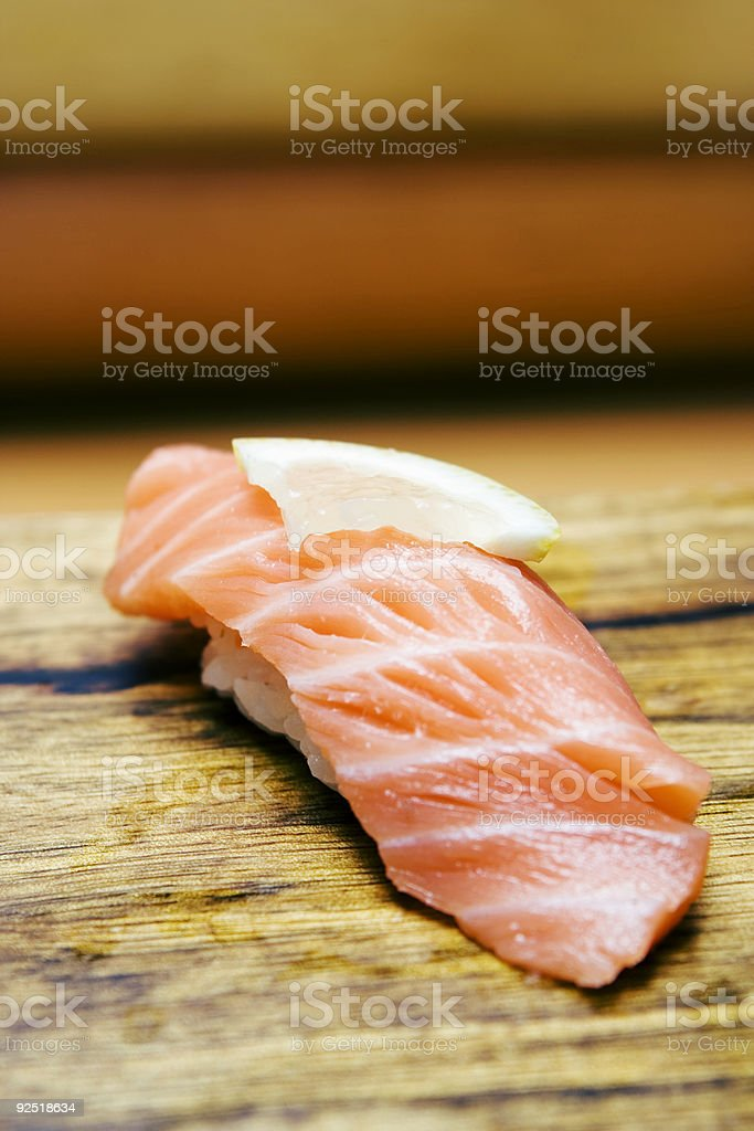 Sushi Served with Lemon royalty-free stock photo