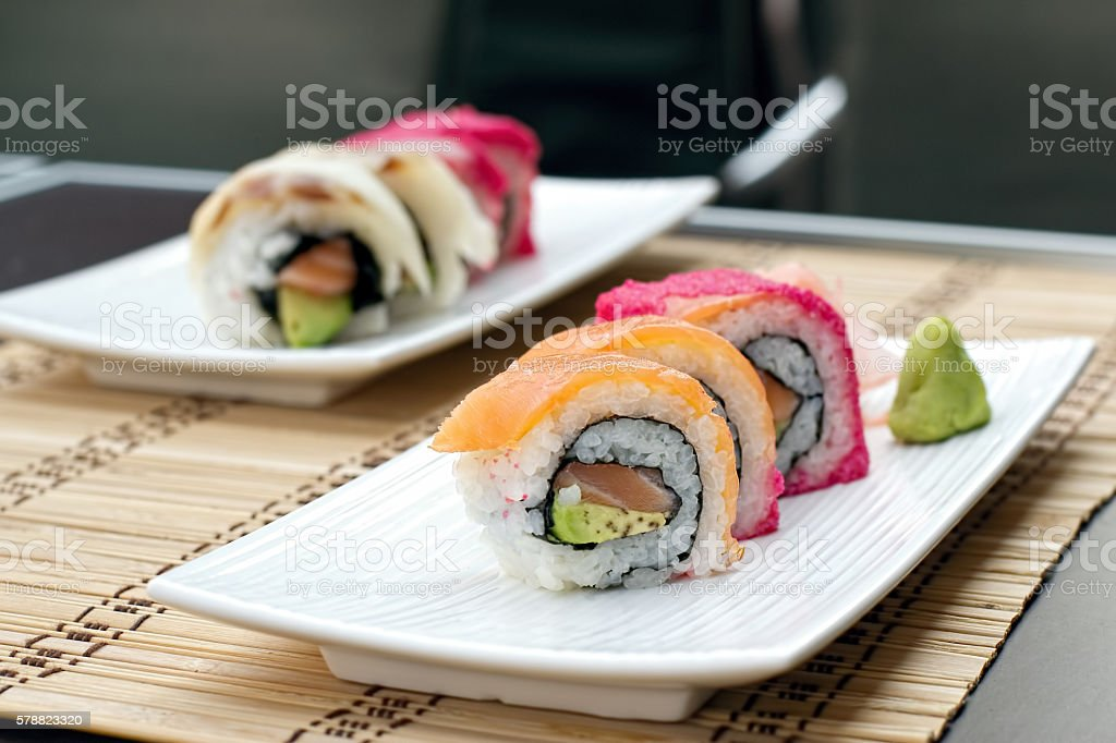 sushi serving stock photo