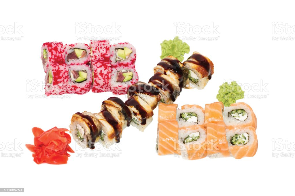 Sushi set 3 dragons. Japanese food stock photo