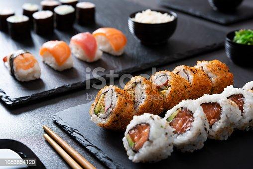 istock Sushi set at japanese restaurant 1053854120