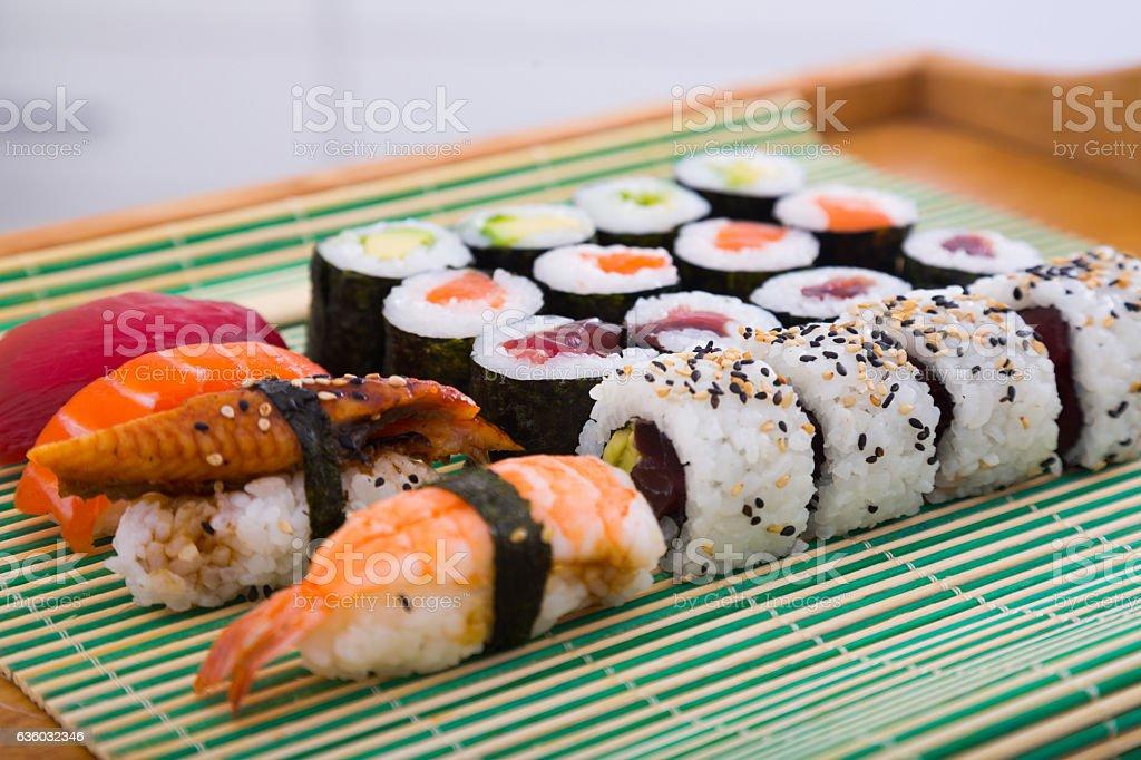 Sushi set in restaurant stock photo