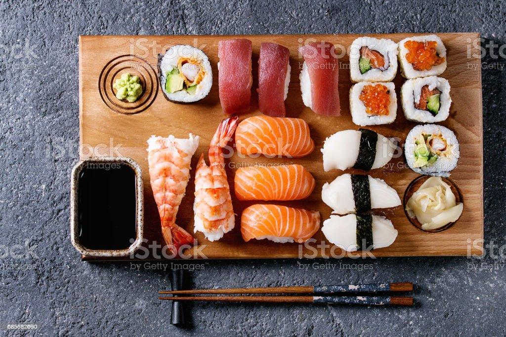 Sushi Set nigiri and rolls royalty-free 스톡 사진