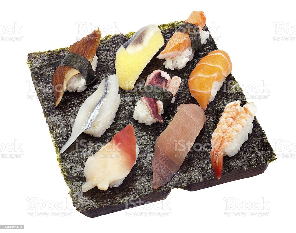 Sushi Set of Nine royalty-free stock photo