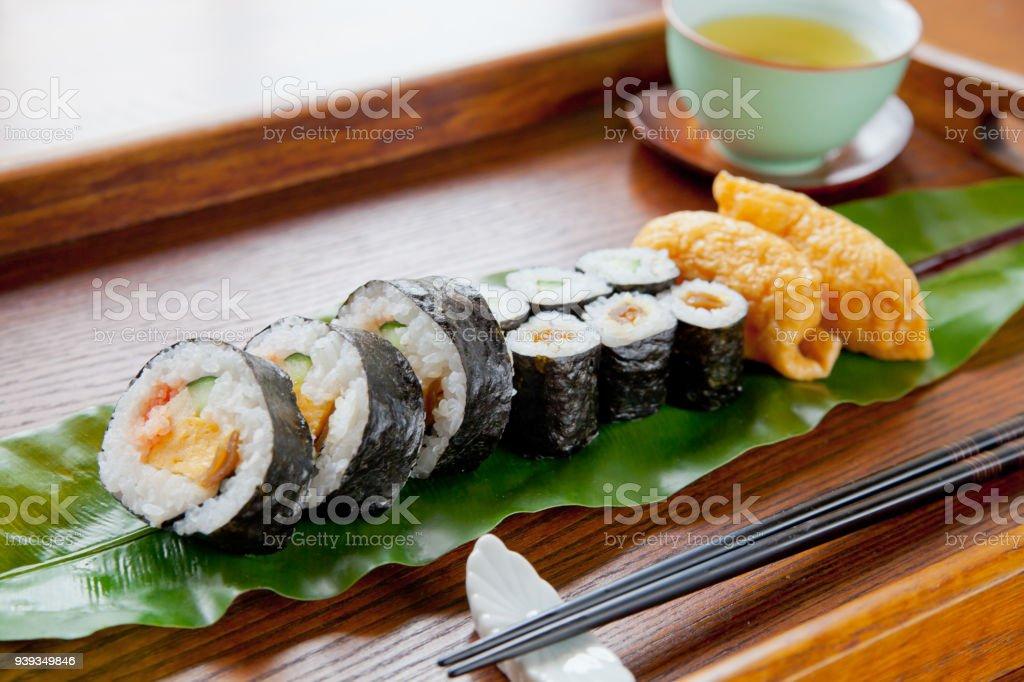 Sushi set on a leaf stock photo