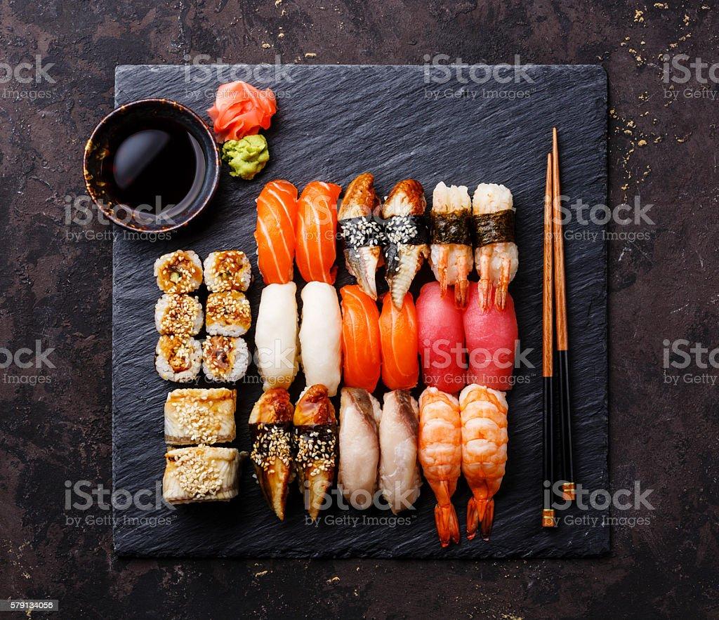 Sushi Set on stone slate board stock photo