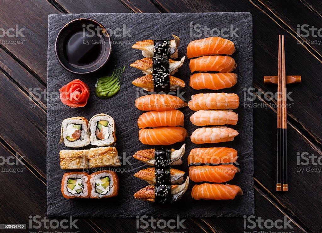 Sushi Set sashimi and sushi rolls stock photo