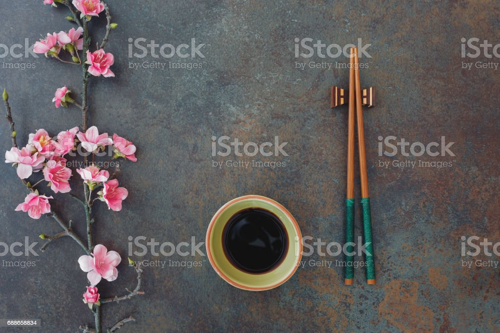 Sushi Set. with small bowl of soy sauce and chopsticks stock photo