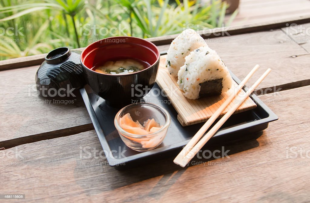 Sushi set with soup stock photo