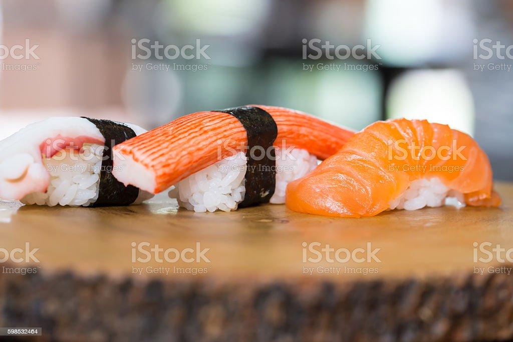 sushi squid, sushi salmon, sushi shrimp, Japanese food photo libre de droits
