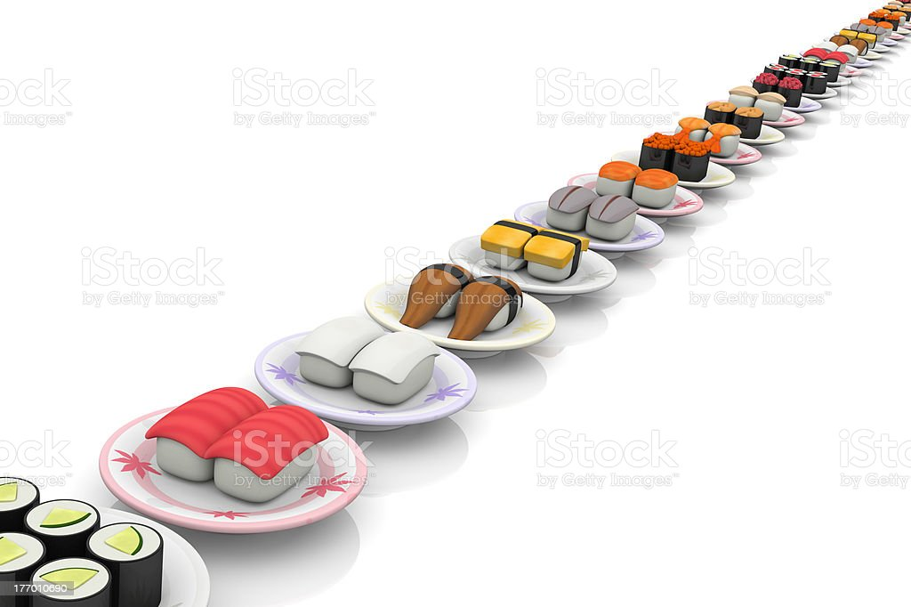 Sushi straight line royalty-free stock photo