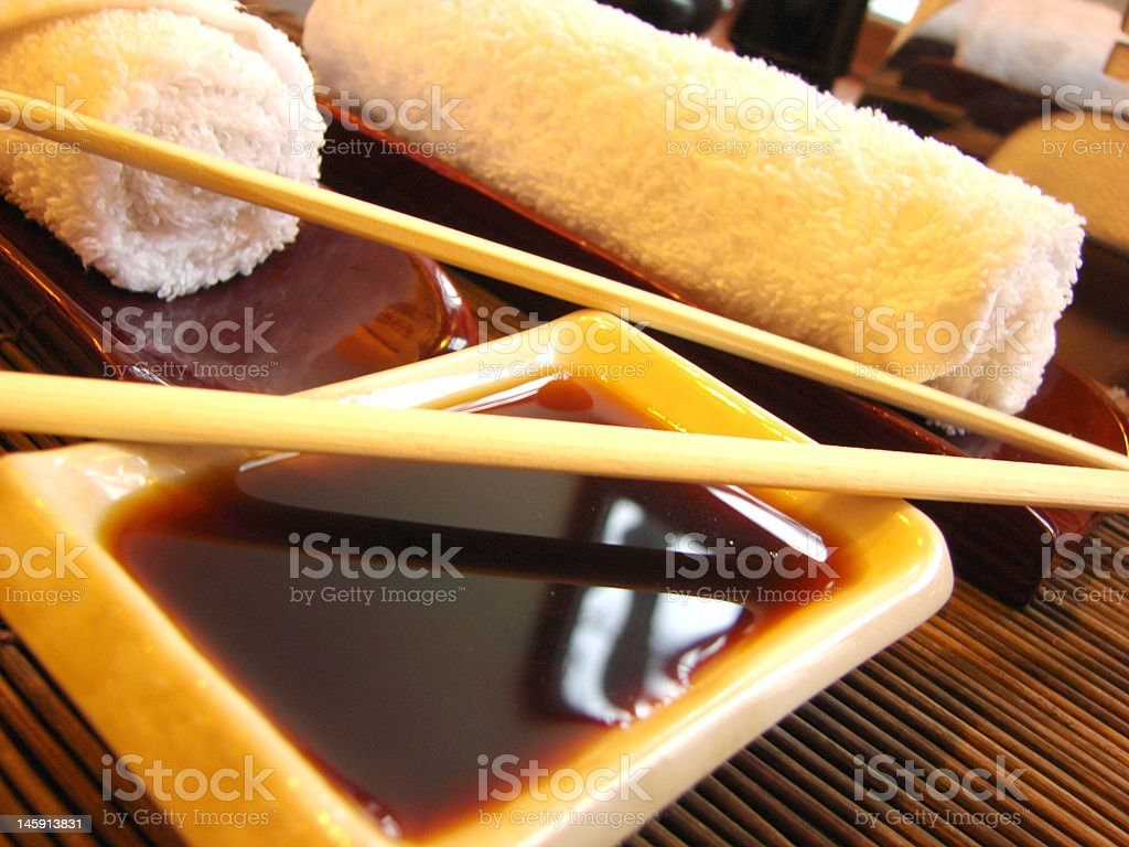 Sushi table ready for dinner stock photo