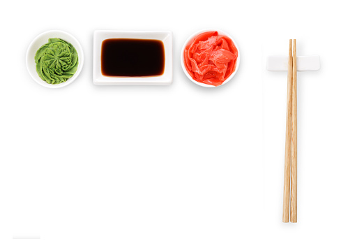Sushi tablewear top view at white background