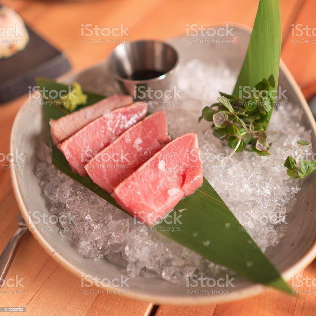 Sushi tuna o-toro stock photo