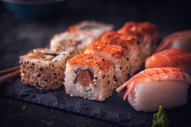 sushi variation - sushi stock photos and pictures
