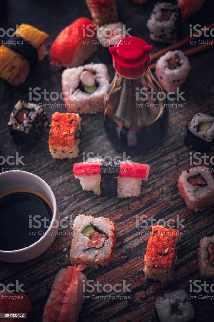 Sushi Variation with Soy Sauce royalty-free stock photo