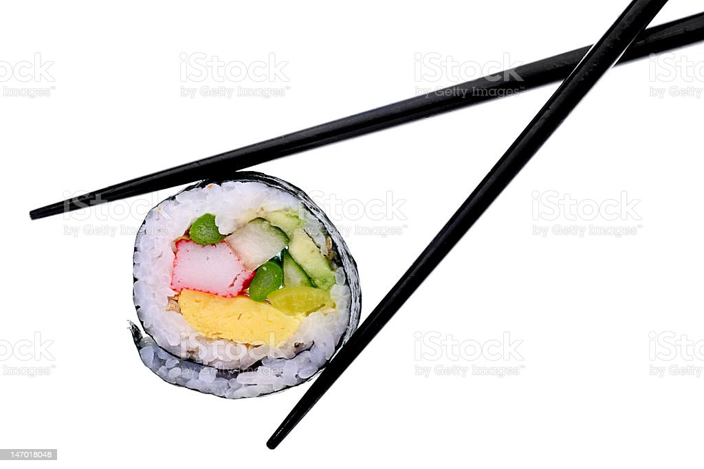 Sushi with black chopsticks isolated on a white background stock photo