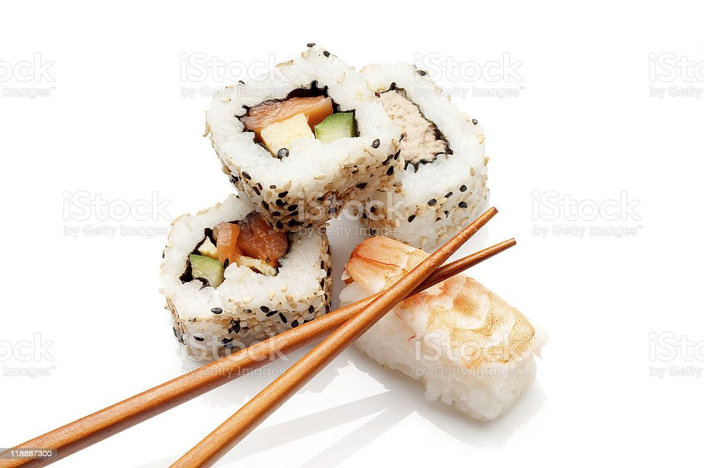 sushi with chopstick royalty-free stock photo