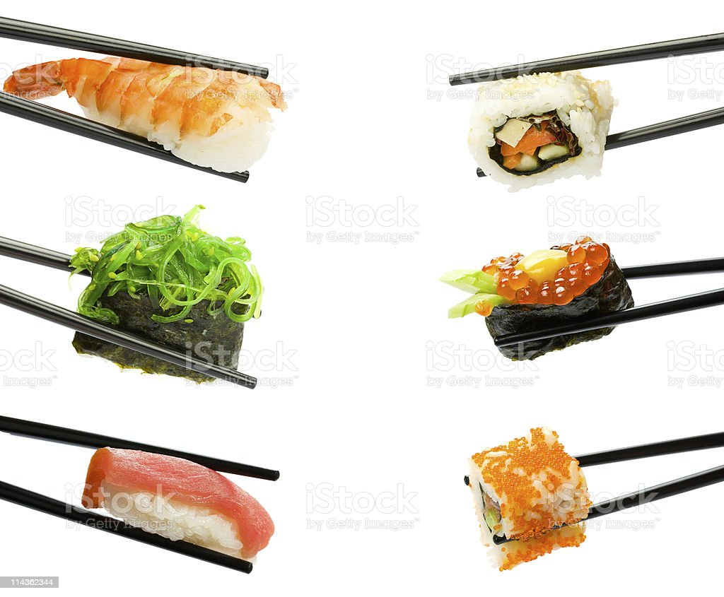 Sushi with chopsticks royalty-free stock photo