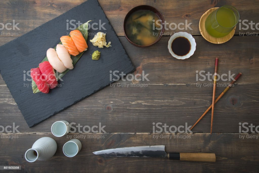 sushi with copy space stock photo