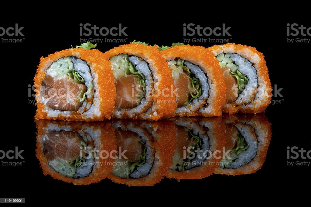 Sushi With Flying Fish Eggs Stock Photo & More Pictures of