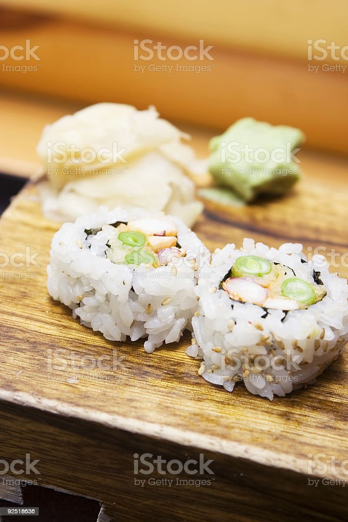 Sushi with Ginger and Wasabi royalty-free stock photo