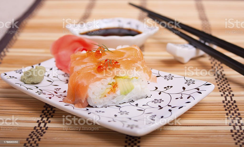 Sushi with salmon and red caviar royalty-free stock photo