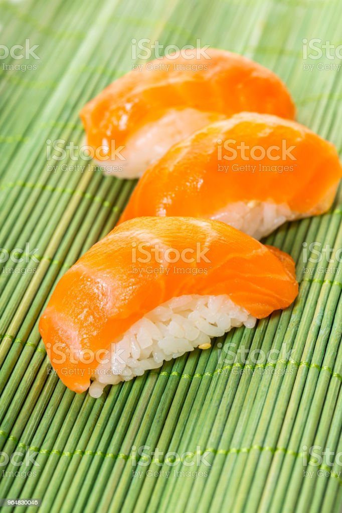 sushi with salmon close-up royalty-free stock photo