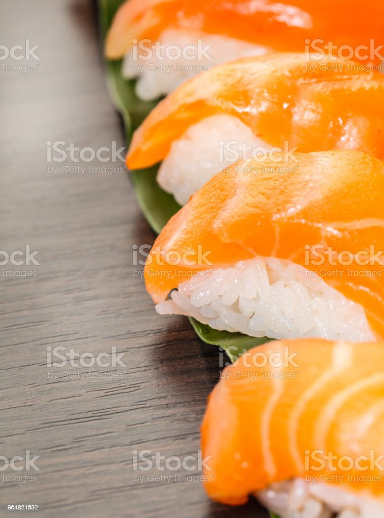 sushi with salmon on a leaf royalty-free stock photo