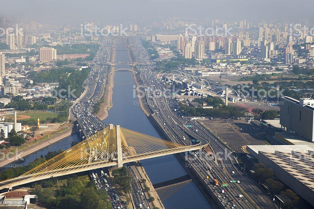 Suspended bridge in Sao Paulo City royalty-free stock photo
