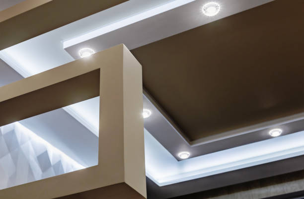 suspended ceiling and drywall construction in the decoration stock photo