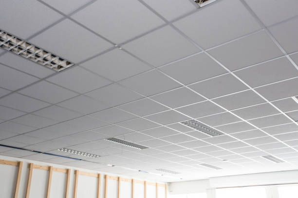 suspended ceiling with led square lamps sin the office - потолок стоковые фото и изображения
