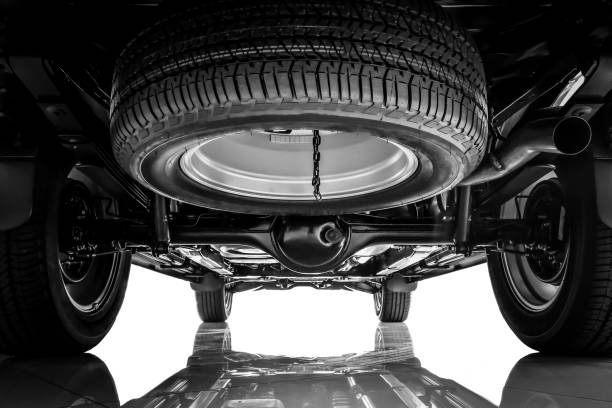 Suspension and chassis car , Spare tire black and white tone stock photo