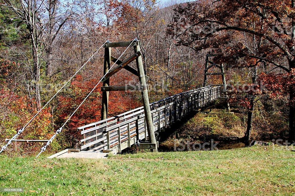 Suspension Bridge across Passage Creek stock photo