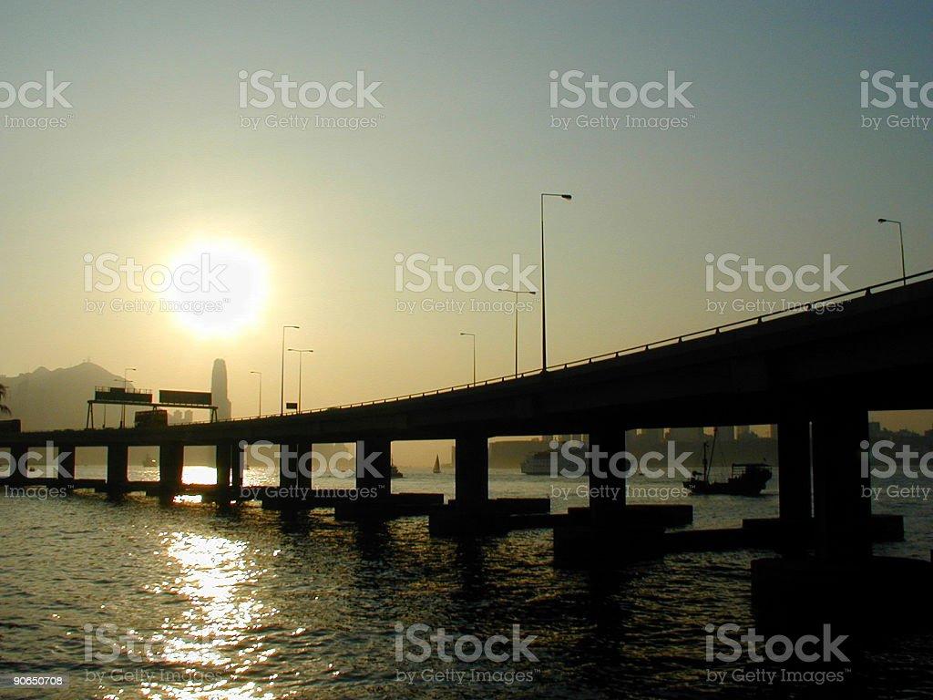Suspension Bridge Against Sunset Sky royalty-free stock photo