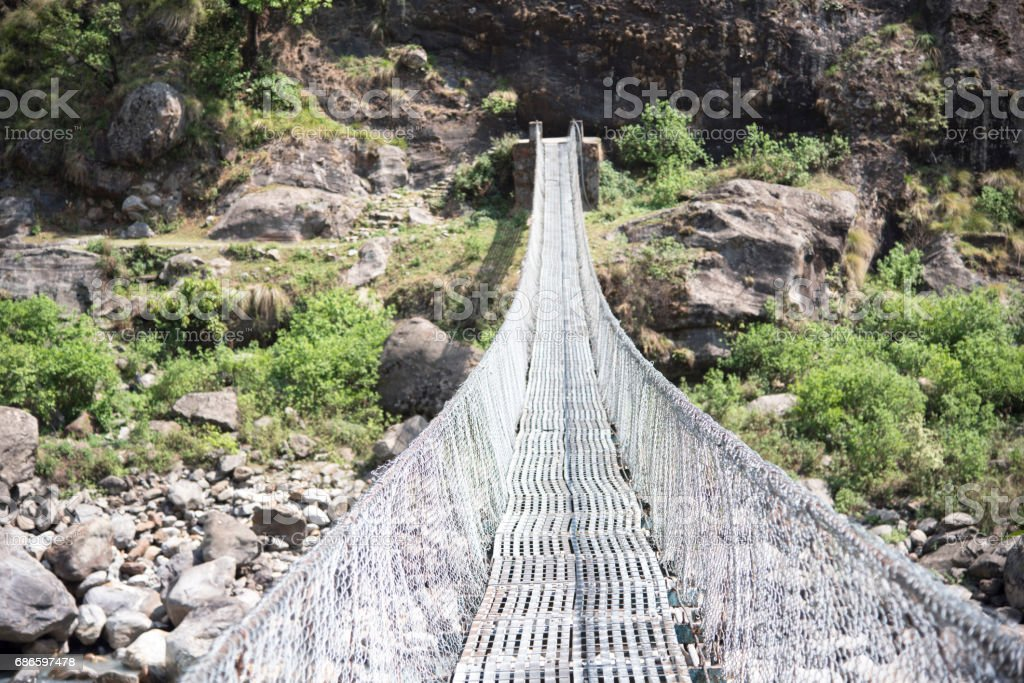 Suspension bridge along the Annapurna Circuit, Nepal royalty-free stock photo